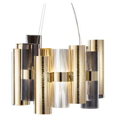 SLAMP La Lollo Medium Pendant Light in Gold & Fumé by Lorenza Bozzoli