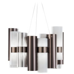 SLAMP La Lollo Medium Pendant Light in Pewter & White by Lorenza Bozzoli