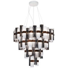 Slamp La Lollona 4-Tier Cascade Chandelier in Pewter & White by Lorenza Bozzoli