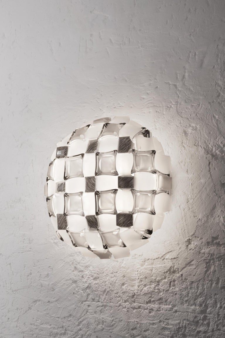 Contemporary Slamp Mida Wall/Ceiling Light White Platinum by Adriano Rachele For Sale