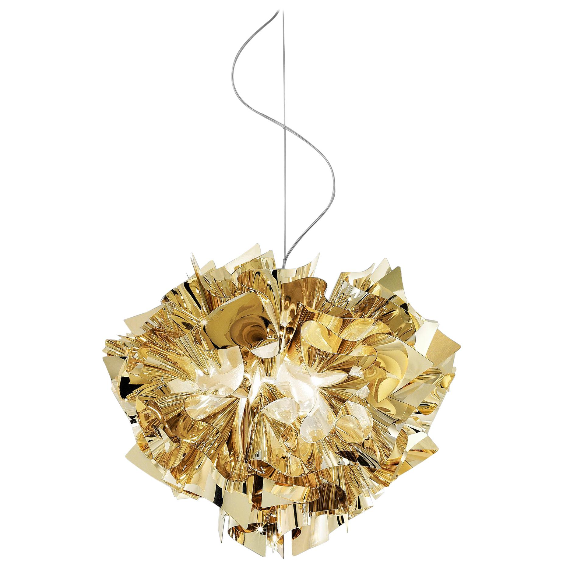 SLAMP Veli Medium Suspension Light in Gold by Adriano Rachele
