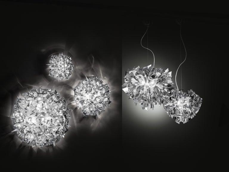 Contemporary SLAMP Veli Medium Suspension Light in Silver by Adriano Rachele For Sale