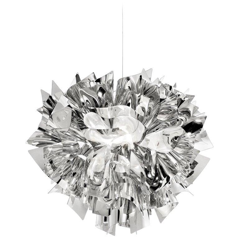 SLAMP Veli Medium Suspension Light in Silver by Adriano Rachele For Sale