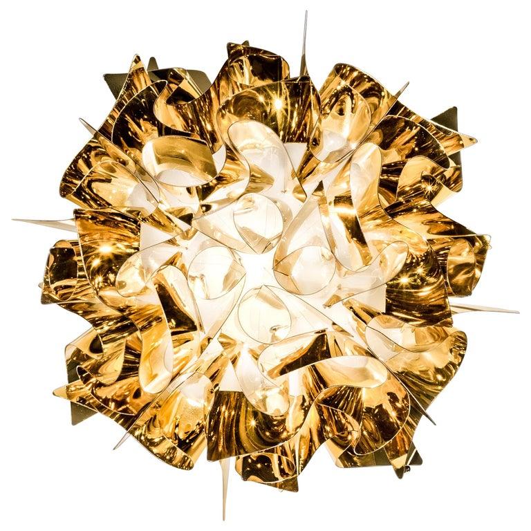 SLAMP Veli Mini Flush Light in Gold by Adriano Rachele For Sale
