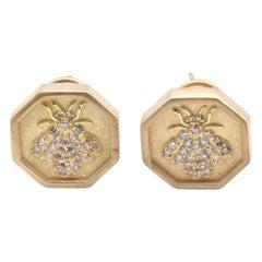Slane & Slane 18 Karat Yellow Gold Diamond Bee Hexagon Earrings