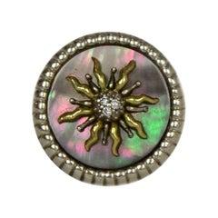 Slane & Slane 18k Sterling Silver Mother of Pearl & Diamond Solis Ring sz 6.5