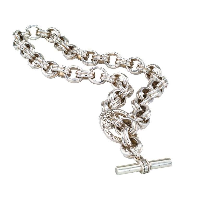 Round Cut Slane & Slane Diamond Sterling Silver Link Toggle Necklace For Sale