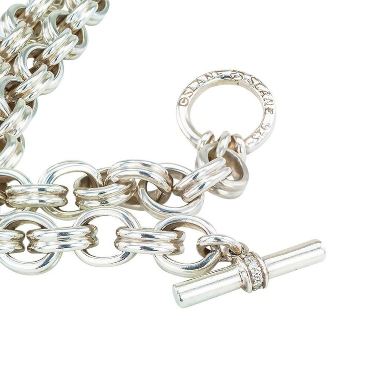 Slane & Slane Diamond Sterling Silver Link Toggle Necklace In Good Condition For Sale In Los Angeles, CA