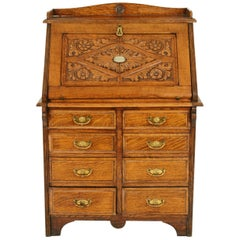 Slant Front Desk, Antique Carved Desk, File Cabinet, Tiger Oak, 1880