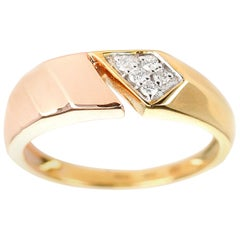 Chic Open Two-Tone Yellow and Rose Gold 14 Karat Diamond Ring