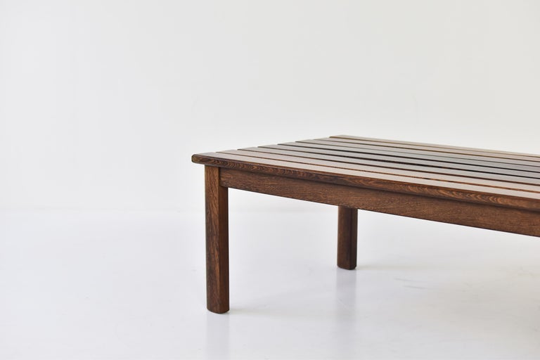 Mid-Century Modern Slat Bench or Coffee Table in Ash and Wenge Dating from the 1960's For Sale