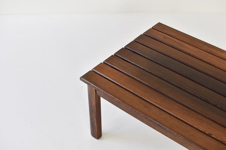 European Slat Bench or Coffee Table in Ash and Wenge Dating from the 1960's For Sale