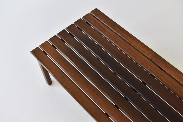 Slat Bench or Coffee Table in Ash and Wenge Dating from the 1960's In Good Condition For Sale In Antwerp, BE