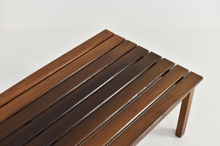 Mid-20th Century Slat Bench or Coffee Table in Ash and Wenge Dating from the 1960's For Sale