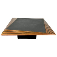 Slate and Wood Coffee Low Table in Tobia Scarpa Style, Italy, 1980s