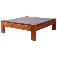 Slate and Wood Coffee Table