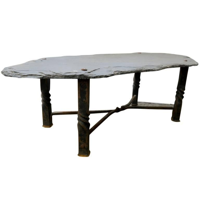 Slate And Glass Coffee Table For Sale: Slate Coffee Table From The French Riviera, Circa 1940 For