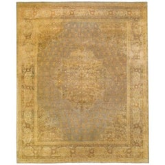 Slate Gold Antique Indian Agra Room Size Rug