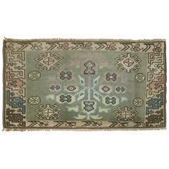 Slate Green Turkish Wool Anatolian Small Throw Rug