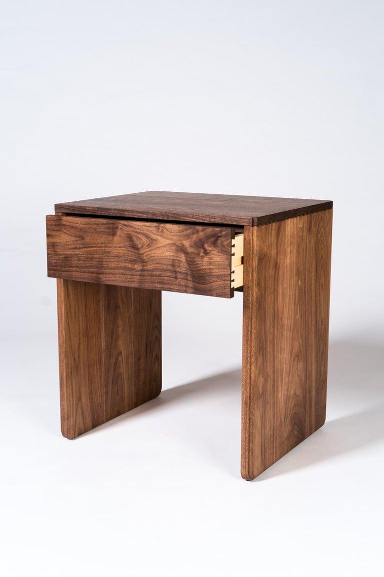 Modern Slate Side Table by Tretiak Works, Handmade Contemporary Walnut Nightstand For Sale