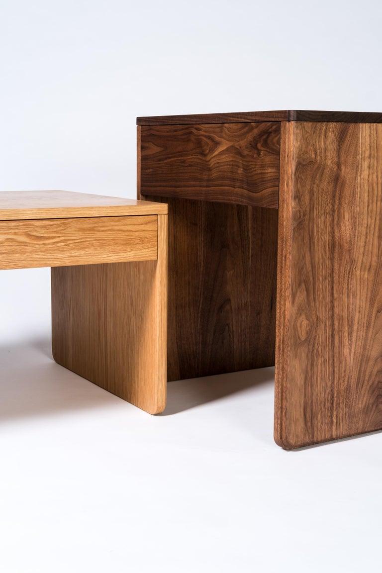 American Slate Side Table by Tretiak Works, Handmade Contemporary Walnut Nightstand For Sale