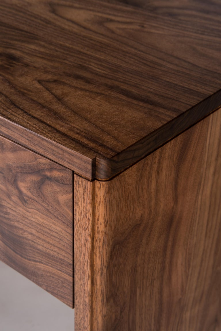 Hand-Crafted Slate Side Table by Tretiak Works, Handmade Contemporary Walnut Nightstand For Sale