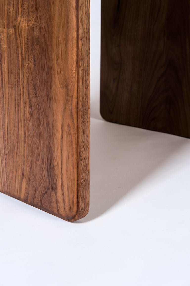 Slate Side Table by Tretiak Works, Handmade Contemporary Walnut Nightstand In New Condition For Sale In Portland, OR