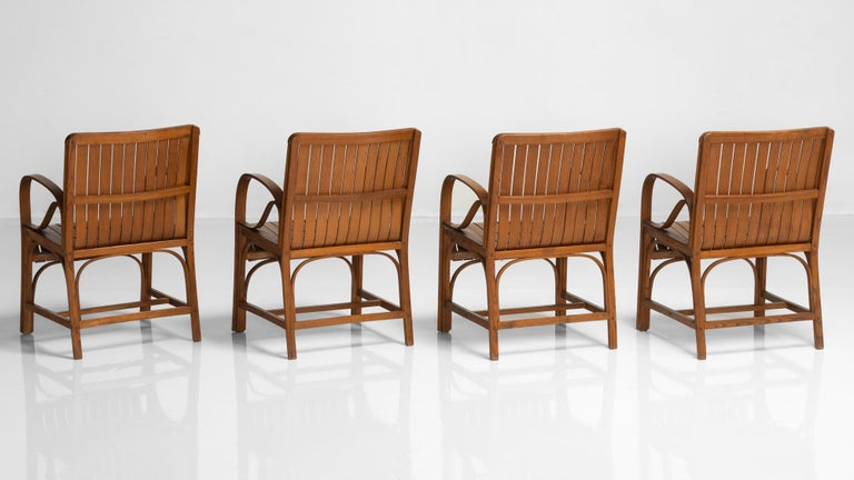 Mid-Century Modern Slatted Bentwood Armchair, France, circa 1950 For Sale