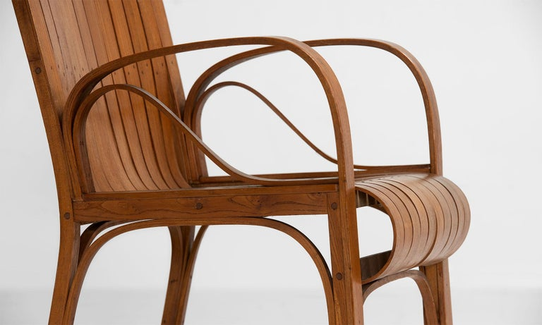 Slatted Bentwood Armchair, France, circa 1950 In Good Condition For Sale In Culver City, CA