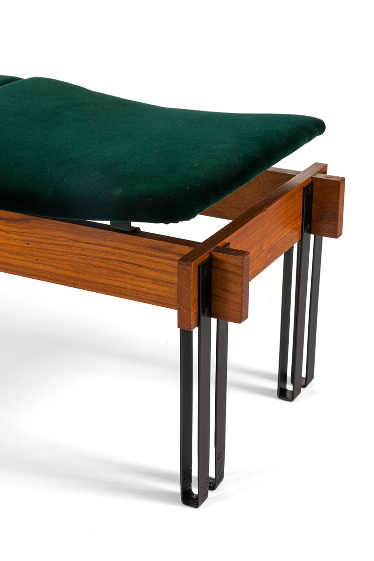 Painted Slatted Teak Bench with Velvet Seats by Inge & Luciano Rubino, Italy, 1960s For Sale