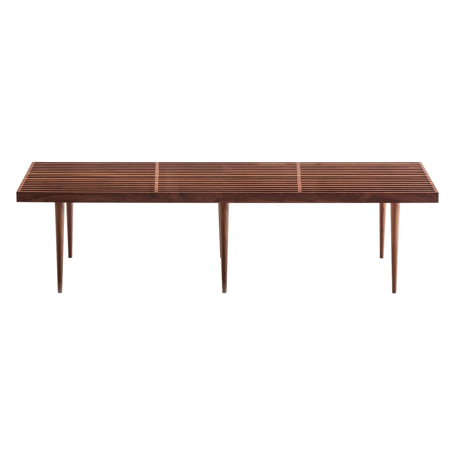 Slatted Walnut Bench or Coffee Table by Mel Smilow
