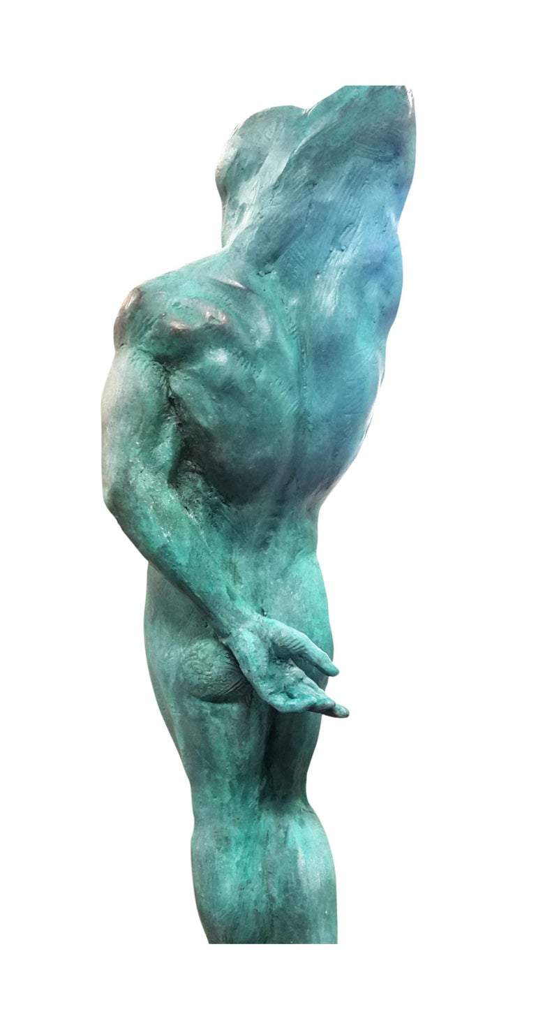 Classical Greek After Michelangelo's Slave Series Classical Male Nude Bronze, Green Patina For Sale
