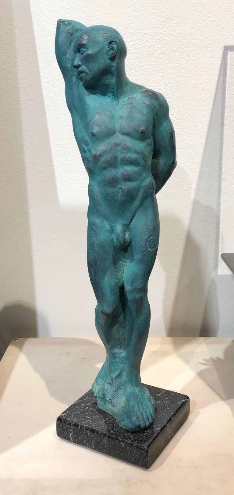 American After Michelangelo's Slave Series Classical Male Nude Bronze, Green Patina For Sale
