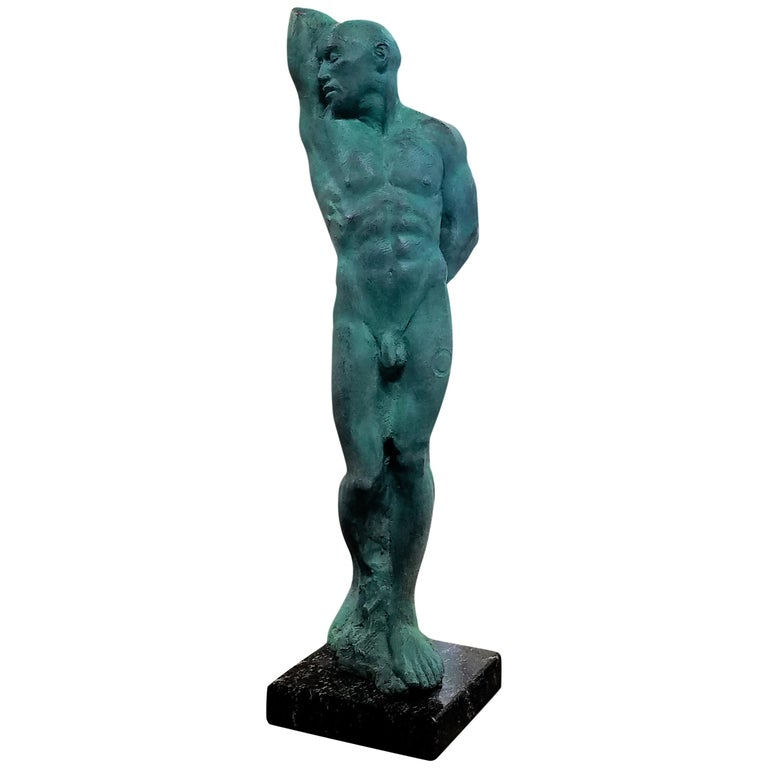 After Michelangelo's Slave Series Classical Male Nude Bronze, Green Patina For Sale