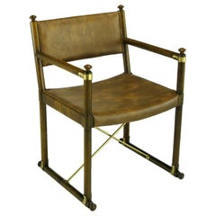 Sled-Base Campaign Arm Chair Of Brass & Walnut