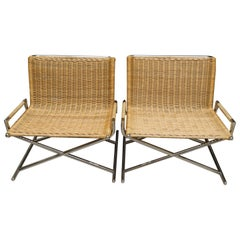 Sled Chair in Polished Chrome and Rattan by Ward Bennett