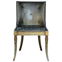 Sleek 1940s Regency Silver Leaf Chair