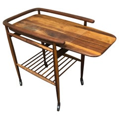 Sleek 1950s Danish Modern Teak Bar Cart with Shelf