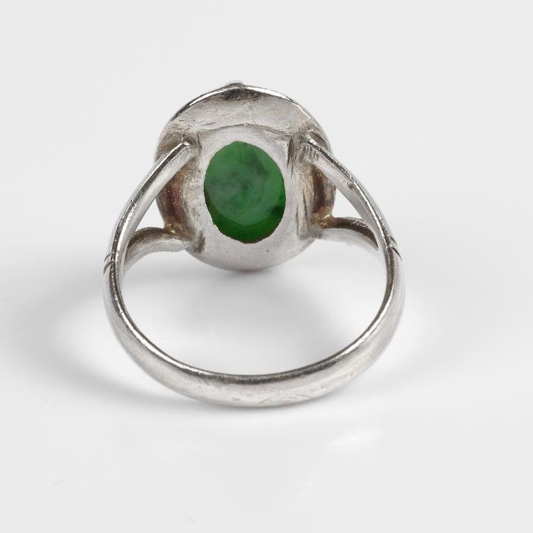 Women's or Men's Sleek Art Deco Jade Ring Certified Untreated For Sale