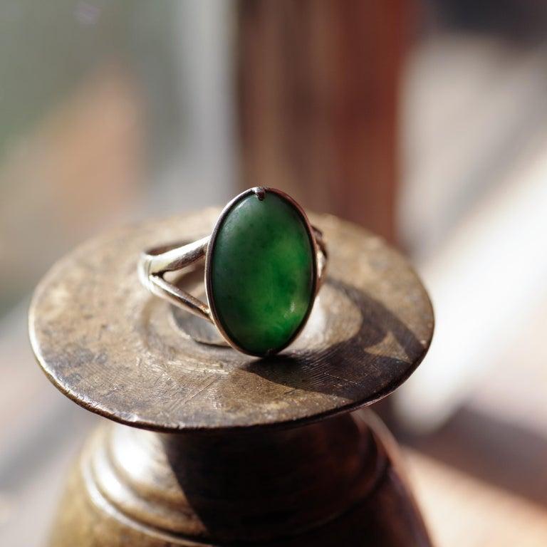 Sleek Art Deco Jade Ring Certified Untreated For Sale 1