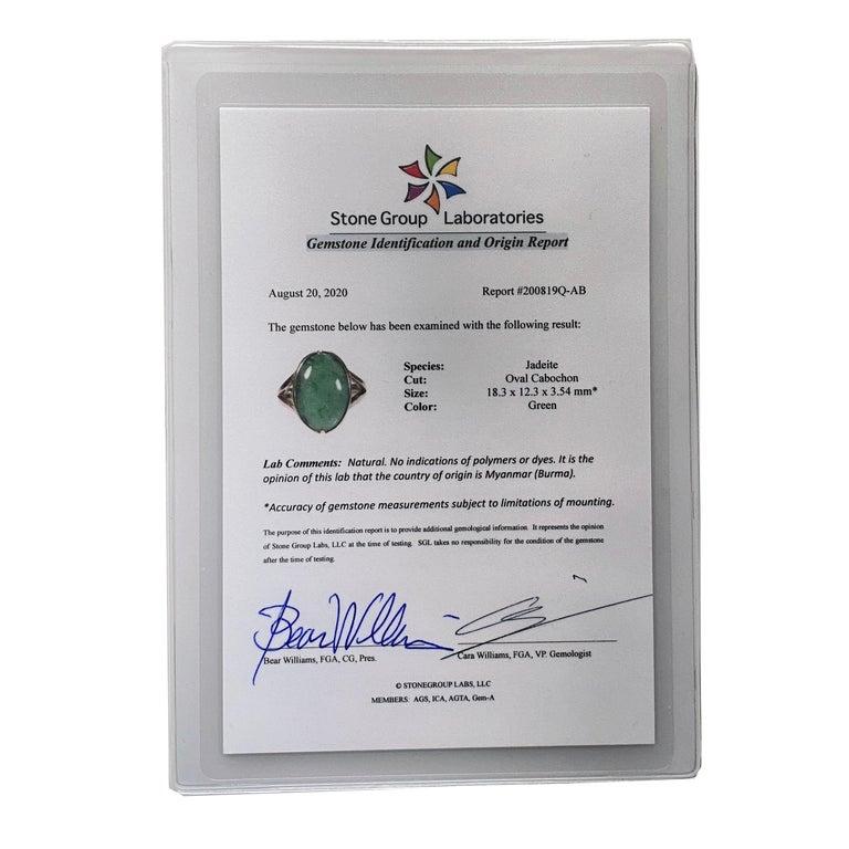 Sleek Art Deco Jade Ring Certified Untreated For Sale 2