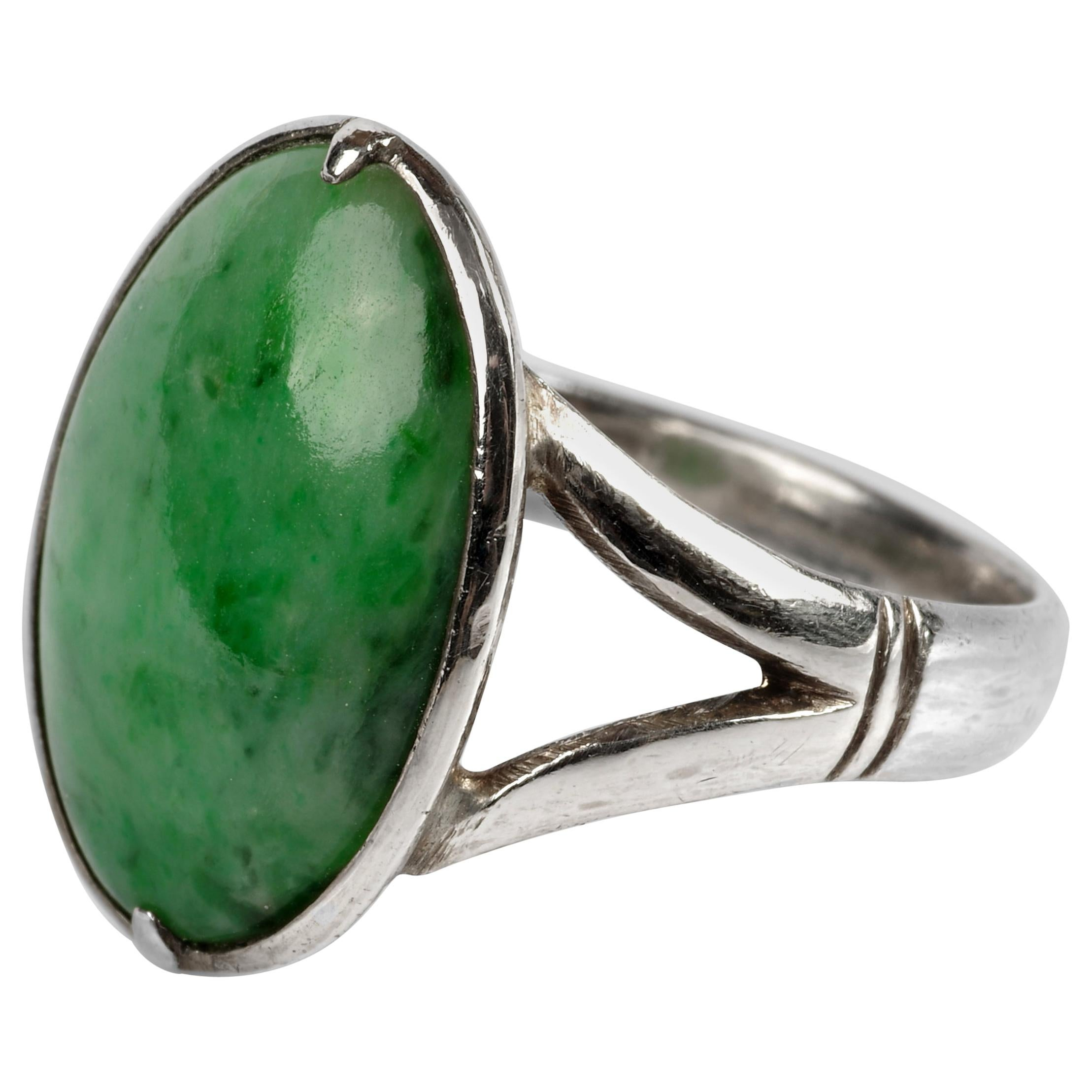 Sleek Art Deco Jade Ring Certified Untreated