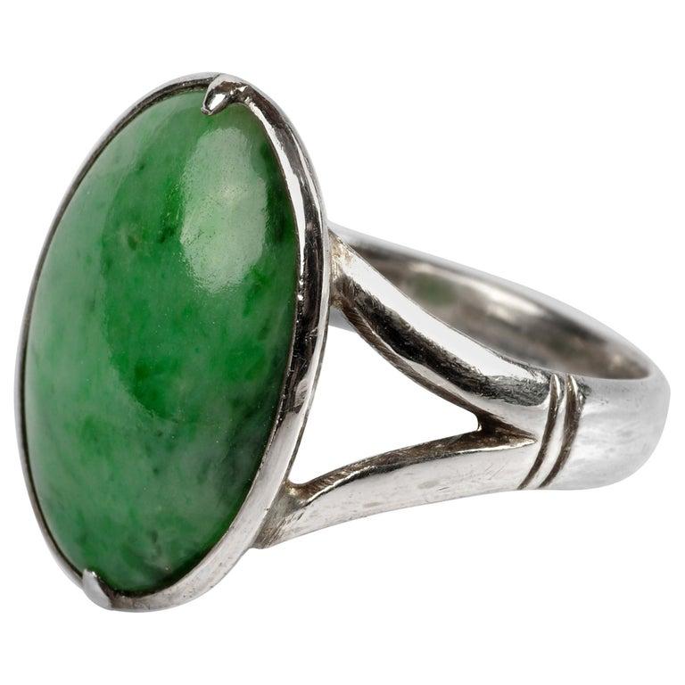 Sleek Art Deco Jade Ring Certified Untreated For Sale