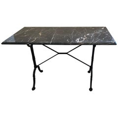 Sleek Black and White Marble and Wrought Iron Console Writing Table Desk
