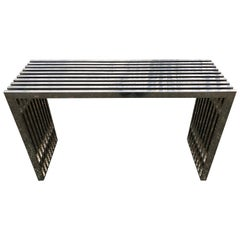 Sleek Chrome Rectangular Console Sofa Table with Chrome Architectural Pattern