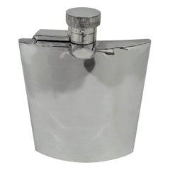 Sleek English Art Deco Modern Sterling Silver Hip Flask