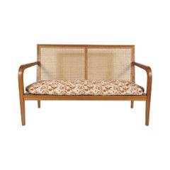 Sleek French 'Art Moderne' Wood Frame & Cane Settee Loveseat Horsehair Cushions