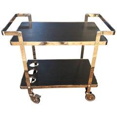 Sleek Glamorous Chrome and Black Wooden Laminate Bar Cart
