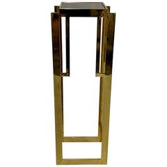 Sleek Mastercraft Hollywood Regency Style Patinated Brass Pedestal