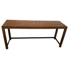 Sleek Mid-Century Modern Burlwood and Ebonized Console Table